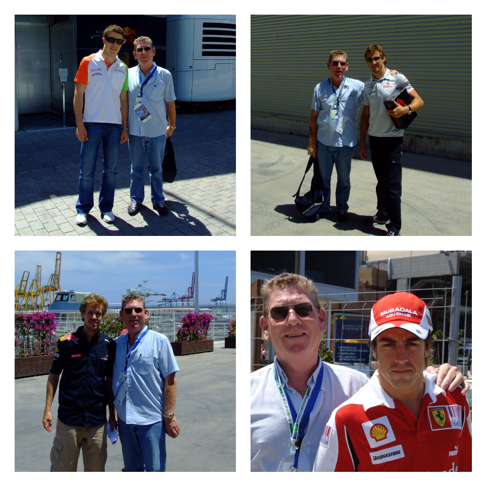 Tony with Formula 1 drivers
