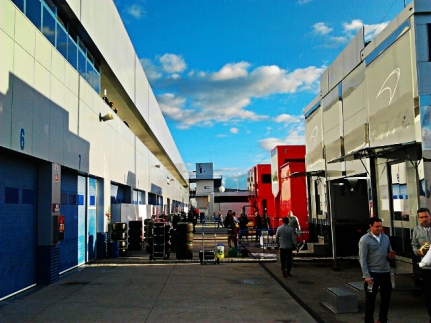 Behind the McLaren garage
