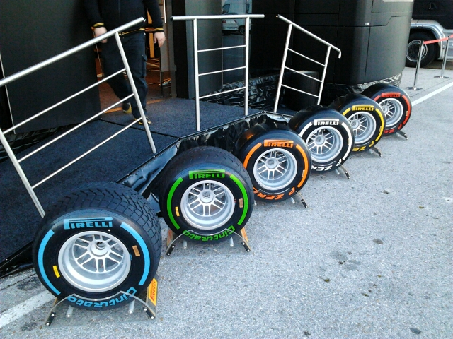Pirelli tyres in front of the Pirelli castle