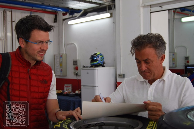 Tony Checks Out Jean Alesi Signing Autographs