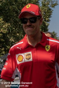 Sebastian Vettel (#5) of the Ferrari Formula 1 team in the paddock on Sunday of the 2019 Australian Grand Prix weekend. -------------------------------------------------- Photo taken by me - GDPHOTOS.COM.AU Sunday 17 March 19 Canon EOS 6D Mark II EF24-105mm f/4L IS USM @ 96mm 1/500 sec @ f16 1000 ISO Please credit if sharing -------------------------------------------------