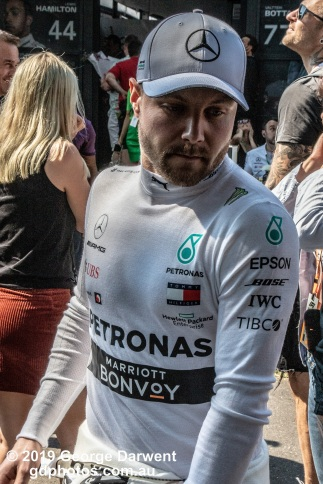 Valtteri Bottas (#77) of the Mercedes Formula 1 team in the paddock on Sunday of the 2019 Australian Grand Prix weekend. -------------------------------------------------- Photo taken by me - GDPHOTOS.COM.AU Sunday 17 March 19 Canon EOS 6D Mark II EF24-105mm f/4L IS USM @ 58mm 1/500 sec @ f16 1000 ISO Please credit if sharing -------------------------------------------------