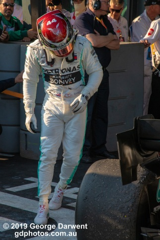 Lewis Hamilton (#44) of the Mercedes Formula 1 team inspects his car after finishing second in the 2019 Australian Grand Prix. -------------------------------------------------- Photo taken by me - GDPHOTOS.COM.AU Sunday 17 March 19 Canon EOS 6D Mark II EF24-105mm f/4L IS USM @ 105mm 1/800 sec @ f10 1000 ISO Please credit if sharing -------------------------------------------------