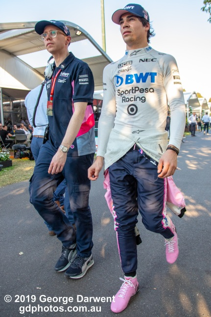 Lance Stroll (#18) of the Racing Point Formula 1 team in the paddock on Saturday of the 2019 Australian Grand Prix weekend. -------------------------------------------------- Photo taken by me - GDPHOTOS.COM.AU Saturday 16 March 19 Canon EOS 6D Mark II EF24-105mm f/4L IS USM @ 24mm 1/500 sec @ f5.6 1000 ISO Please credit if sharing -------------------------------------------------
