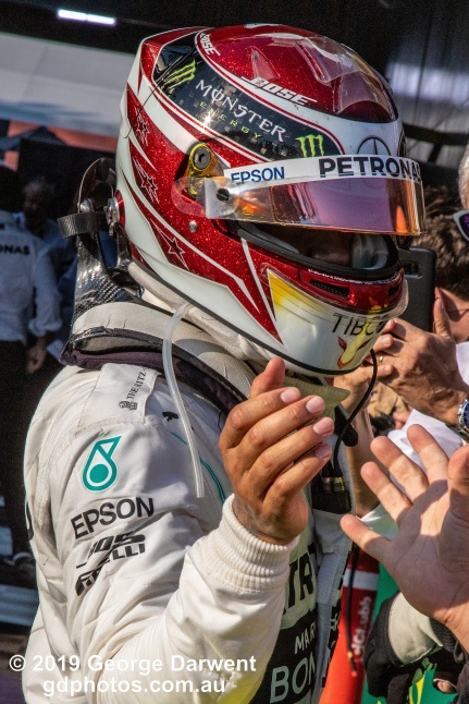 Lewis Hamilton (#44) of the Mercedes Formula 1 team celebrates with his team after finishing second in the 2019 Australian Grand Prix. -------------------------------------------------- Photo taken by me - GDPHOTOS.COM.AU Sunday 17 March 19 Canon EOS 6D Mark II EF24-105mm f/4L IS USM @ 105mm 1/800 sec @ f16 1000 ISO Please credit if sharing -------------------------------------------------