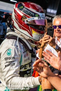 Lewis Hamilton (#44) of the Mercedes Formula 1 team celebrates with his team after finishing second in the 2019 Australian Grand Prix. -------------------------------------------------- Photo taken by me - GDPHOTOS.COM.AU Sunday 17 March 19 Canon EOS 6D Mark II EF24-105mm f/4L IS USM @ 105mm 1/800 sec @ f13 1000 ISO Please credit if sharing -------------------------------------------------
