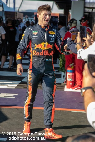 Max Verstappen (#33) of the Red Bull Formula 1 team celebrates with his team after finishing third in the 2019 Australian Grand Prix. -------------------------------------------------- Photo taken by me - GDPHOTOS.COM.AU Sunday 17 March 19 Canon EOS 6D Mark II EF24-105mm f/4L IS USM @ 105mm 1/800 sec @ f6.3 1000 ISO Please credit if sharing -------------------------------------------------