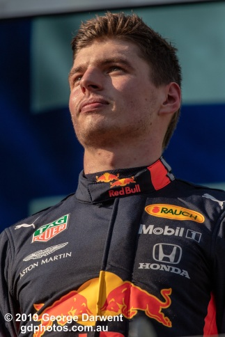 Max Verstappen (#33) of the Red Bull Formula 1 team on the podium of the 2019 Australian Grand Prix weekend. -------------------------------------------------- Photo taken by me - GDPHOTOS.COM.AU Sunday 17 March 19 Canon EOS 6D Mark II EF100-400mm f/4.5-5.6L IS II USM +1.4x III @ 560mm 1/2500 sec @ f8 1000 ISO Please credit if sharing -------------------------------------------------