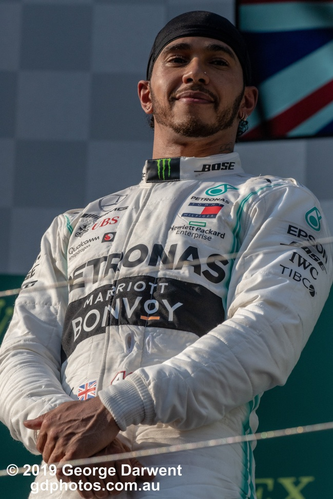 Lewis Hamilton (#44) of the Mercedes Formula 1 team on the podium of the 2019 Australian Grand Prix weekend. -------------------------------------------------- Photo taken by me - GDPHOTOS.COM.AU Sunday 17 March 19 Canon EOS 6D Mark II EF100-400mm f/4.5-5.6L IS II USM +1.4x III @ 368mm 1/2500 sec @ f10 1000 ISO Please credit if sharing -------------------------------------------------