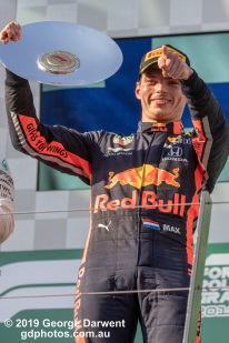 Max Verstappen (#33) of the Red Bull Formula 1 team on the podium of the 2019 Australian Grand Prix weekend. -------------------------------------------------- Photo taken by me - GDPHOTOS.COM.AU Sunday 17 March 19 Canon EOS 6D Mark II EF100-400mm f/4.5-5.6L IS II USM +1.4x III @ 222mm 1/1250 sec @ f8 1000 ISO Please credit if sharing -------------------------------------------------