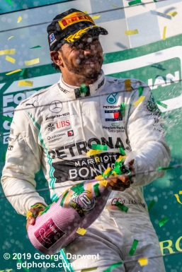 Lewis Hamilton (#44) of the Mercedes Formula 1 team on the podium of the 2019 Australian Grand Prix weekend. -------------------------------------------------- Photo taken by me - GDPHOTOS.COM.AU Sunday 17 March 19 Canon EOS 6D Mark II EF100-400mm f/4.5-5.6L IS II USM +1.4x III @ 255mm 1/1250 sec @ f13 1000 ISO Please credit if sharing -------------------------------------------------