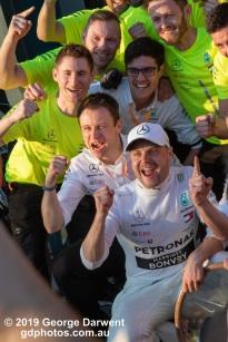 Valtteri Bottas (#77) of the Mercedes Formula 1 team celebrates winning the 2019 Australian Grand Prix. -------------------------------------------------- Photo taken by me - GDPHOTOS.COM.AU Sunday 17 March 19 Canon EOS 6D Mark II EF24-105mm f/4L IS USM @ 105mm 1/250 sec @ f14 1000 ISO Please credit if sharing -------------------------------------------------