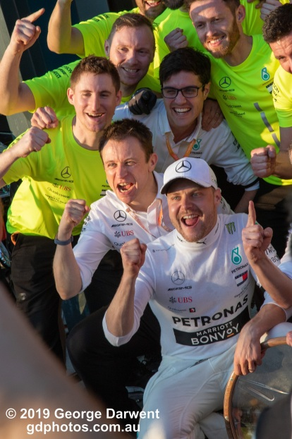 Valtteri Bottas (#77) of the Mercedes Formula 1 team celebrates winning the 2019 Australian Grand Prix. -------------------------------------------------- Photo taken by me - GDPHOTOS.COM.AU Sunday 17 March 19 Canon EOS 6D Mark II EF24-105mm f/4L IS USM @ 105mm 1/250 sec @ f14 1000 ISO Please credit if sharing -------------------------------------------------