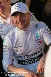 Valtteri Bottas (#77) of the Mercedes Formula 1 team celebrates winning the 2019 Australian Grand Prix. -------------------------------------------------- Photo taken by me - GDPHOTOS.COM.AU Sunday 17 March 19 Canon EOS 6D Mark II EF24-105mm f/4L IS USM @ 105mm 1/250 sec @ f16 1000 ISO Please credit if sharing -------------------------------------------------