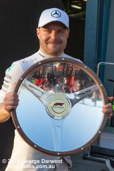 Valtteri Bottas (#77) of the Mercedes Formula 1 team celebrates winning the 2019 Australian Grand Prix. -------------------------------------------------- Photo taken by me - GDPHOTOS.COM.AU Sunday 17 March 19 Canon EOS 6D Mark II EF24-105mm f/4L IS USM @ 67mm 1/400 sec @ f10 1000 ISO Please credit if sharing -------------------------------------------------