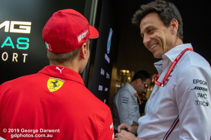 Sebastian Vettel (#5) and Toto Wolff talk in the paddock on Saturday of the 2019 Australian Grand Prix weekend. -------------------------------------------------- Photo taken by me - GDPHOTOS.COM.AU Saturday 16 March 19 Canon EOS 6D Mark II EF24-105mm f/4L IS USM @ 24mm 1/320 sec @ f4 1000 ISO Please credit if sharing -------------------------------------------------