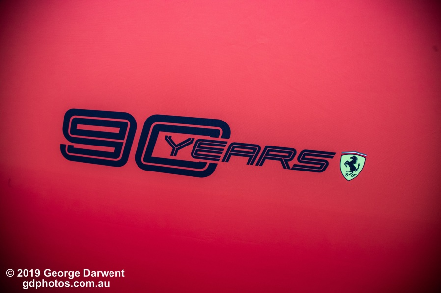 Ferrari - 90 Years Logo. -------------------------------------------------- Photo taken by me - GDPHOTOS.COM.AU Saturday 16 March 19 Canon EOS 6D Mark II EF24-105mm f/4L IS USM @ 24mm 1/320 sec @ f4 1000 ISO Please credit if sharing -------------------------------------------------