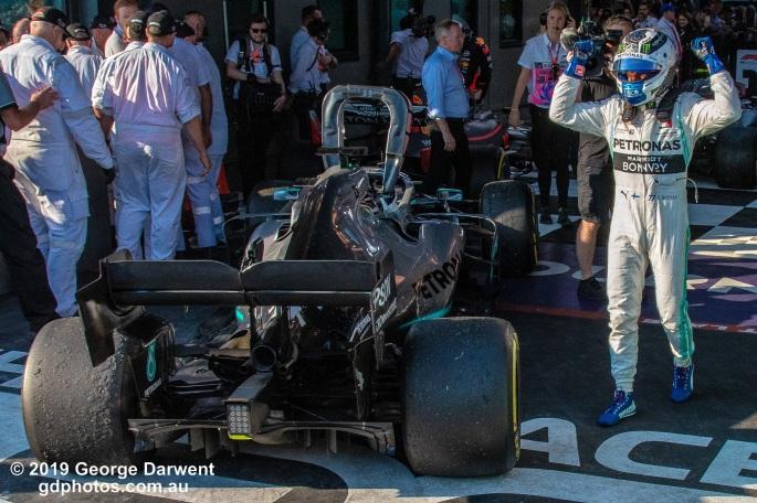 Valtteri Bottas (#77) of the Mercedes Formula 1 team celebrates winning the 2019 Australian Grand Prix. -------------------------------------------------- Photo taken by me - GDPHOTOS.COM.AU Sunday 17 March 19 Canon EOS 6D Mark II EF24-105mm f/4L IS USM @ 28mm 1/800 sec @ f9 1000 ISO Please credit if sharing -------------------------------------------------