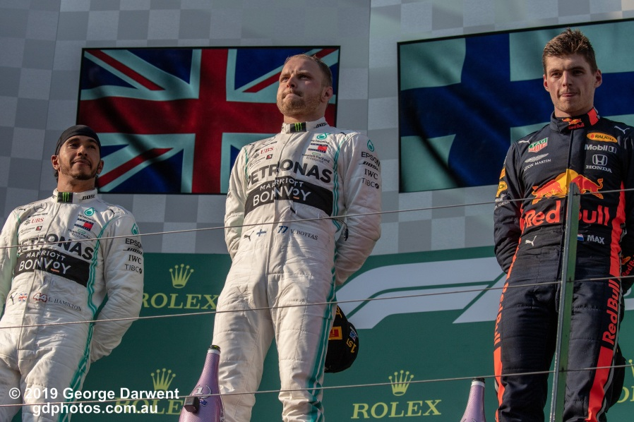 The top three finishers on the podium of the 2019 Australian Grand Prix. -------------------------------------------------- Photo taken by me - GDPHOTOS.COM.AU Sunday 17 March 19 Canon EOS 6D Mark II EF100-400mm f/4.5-5.6L IS II USM +1.4x III @ 140mm 1/2500 sec @ f9 1000 ISO Please credit if sharing -------------------------------------------------