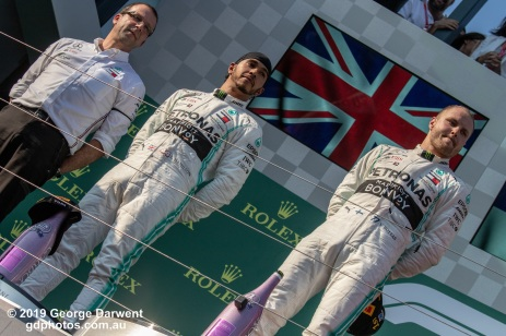 The Mercedes team on the podium of the 2019 Australian Grand Prix. -------------------------------------------------- Photo taken by me - GDPHOTOS.COM.AU Sunday 17 March 19 Canon EOS 6D Mark II EF100-400mm f/4.5-5.6L IS II USM +1.4x III @ 140mm 1/2500 sec @ f9 1000 ISO Please credit if sharing -------------------------------------------------