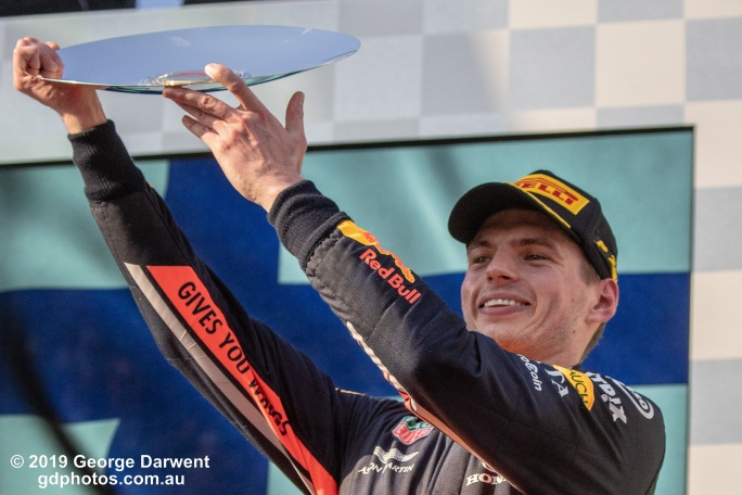 Max Verstappen (#33) of the Red Bull Formula 1 team on the podium of the 2019 Australian Grand Prix weekend. -------------------------------------------------- Photo taken by me - GDPHOTOS.COM.AU Sunday 17 March 19 Canon EOS 6D Mark II EF100-400mm f/4.5-5.6L IS II USM +1.4x III @ 189mm 1/1250 sec @ f8 1000 ISO Please credit if sharing -------------------------------------------------