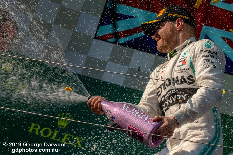 Valtteri Bottas (#77) of the Mercedes Formula 1 team on the podium of the 2019 Australian Grand Prix weekend. -------------------------------------------------- Photo taken by me - GDPHOTOS.COM.AU Sunday 17 March 19 Canon EOS 6D Mark II EF100-400mm f/4.5-5.6L IS II USM +1.4x III @ 230mm 1/1250 sec @ f14 1000 ISO Please credit if sharing -------------------------------------------------