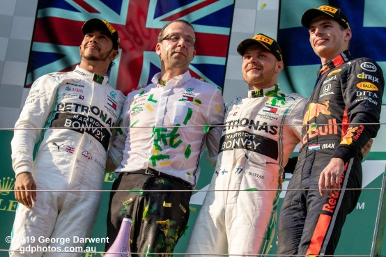 The top three finishers on the podium of the 2019 Australian Grand Prix. -------------------------------------------------- Photo taken by me - GDPHOTOS.COM.AU Sunday 17 March 19 Canon EOS 6D Mark II EF100-400mm f/4.5-5.6L IS II USM +1.4x III @ 140mm 1/1250 sec @ f10 1000 ISO Please credit if sharing -------------------------------------------------