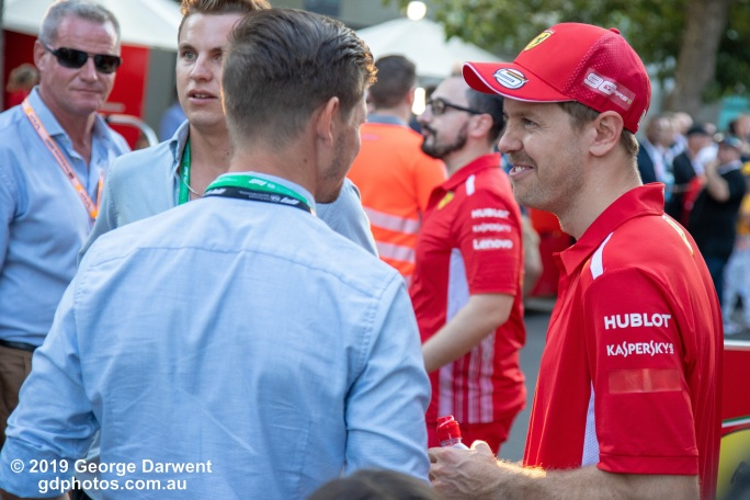 Sebastian Vettel and Casey Stoner in the paddock on Sunday of the 2019 Australian Grand Prix weekend. -------------------------------------------------- Photo taken by me - GDPHOTOS.COM.AU Sunday 17 March 19 Canon EOS 6D Mark II EF24-105mm f/4L IS USM @ 80mm 1/320 sec @ f4.5 1000 ISO Please credit if sharing -------------------------------------------------