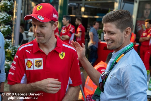 Sebastian Vettel and Casey Stoner in the paddock on Sunday of the 2019 Australian Grand Prix weekend. -------------------------------------------------- Photo taken by me - GDPHOTOS.COM.AU Sunday 17 March 19 Canon EOS 6D Mark II EF24-105mm f/4L IS USM @ 50mm 1/320 sec @ f5 1000 ISO Please credit if sharing -------------------------------------------------