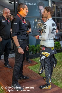 Romain Grosjean (#8) and Gunther Steiner of the Haas Formula 1 team in the paddock on Saturday of the 2019 Australian Grand Prix weekend. -------------------------------------------------- Photo taken by me - GDPHOTOS.COM.AU Saturday 16 March 19 Canon EOS 6D Mark II EF24-105mm f/4L IS USM @ 40mm 1/320 sec @ f4 1000 ISO Please credit if sharing -------------------------------------------------