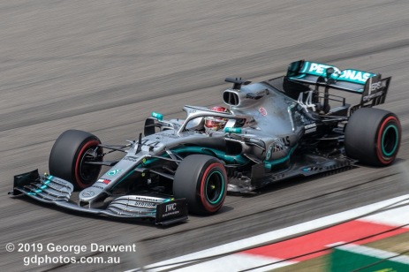 Lewis Hamilton (#44) of the Mercedes Formula 1 team out on track during the 2019 Chinese Grand Prix weekend. -------------------------------------------------- Photo taken by me - GDPHOTOS.COM.AU Friday 12 April 19 Canon EOS 6D Mark II EF100-400mm f/4.5-5.6L IS II USM +1.4x III @ 379mm 1/250 sec @ f16 500 ISO Please credit if sharing -------------------------------------------------