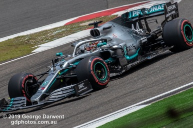 Lewis Hamilton (#44) of the Mercedes Formula 1 team out on track during the 2019 Chinese Grand Prix weekend. -------------------------------------------------- Photo taken by me - GDPHOTOS.COM.AU Friday 12 April 19 Canon EOS 6D Mark II EF100-400mm f/4.5-5.6L IS II USM +1.4x III @ 476mm 1/640 sec @ f14 500 ISO Please credit if sharing -------------------------------------------------