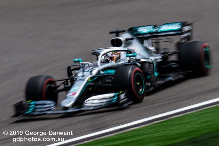 Lewis Hamilton (#44) of the Mercedes Formula 1 team out on track during the 2019 Chinese Grand Prix weekend. -------------------------------------------------- Photo taken by me - GDPHOTOS.COM.AU Friday 12 April 19 Canon EOS 6D Mark II EF100-400mm f/4.5-5.6L IS II USM +1.4x III @ 214mm 1/40 sec @ f45 500 ISO Please credit if sharing -------------------------------------------------