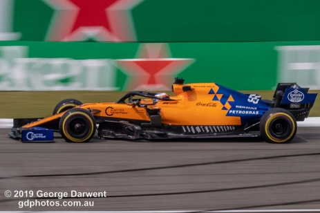 Carlos Sainz (#55) of the McLaren Formula 1 team out on track during the 2019 Chinese Grand Prix weekend. -------------------------------------------------- Photo taken by me - GDPHOTOS.COM.AU Friday 12 April 19 Canon EOS 6D Mark II EF100-400mm f/4.5-5.6L IS II USM +1.4x III @ 280mm 1/160 sec @ f25 500 ISO Please credit if sharing -------------------------------------------------