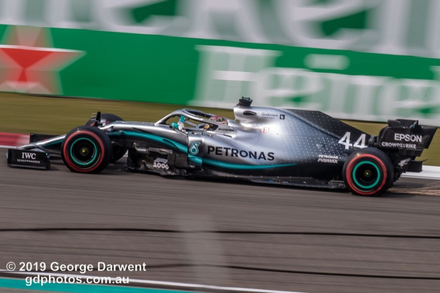 Lewis Hamilton (#44) of the Mercedes Formula 1 team out on track during the 2019 Chinese Grand Prix weekend. -------------------------------------------------- Photo taken by me - GDPHOTOS.COM.AU Friday 12 April 19 Canon EOS 6D Mark II EF100-400mm f/4.5-5.6L IS II USM +1.4x III @ 348mm 1/160 sec @ f20 500 ISO Please credit if sharing -------------------------------------------------