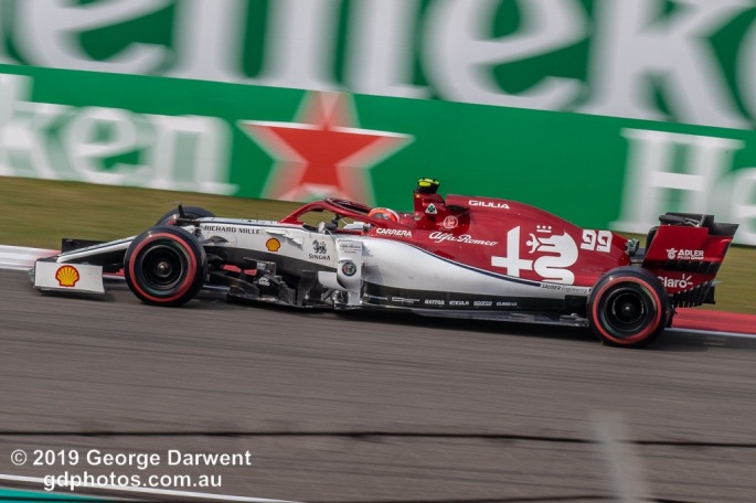 Antonio Giovinazzi (#99) of the Alfa Romeo Racing Formula 1 team out on track during the 2019 Chinese Grand Prix weekend. -------------------------------------------------- Photo taken by me - GDPHOTOS.COM.AU Friday 12 April 19 Canon EOS 6D Mark II EF100-400mm f/4.5-5.6L IS II USM +1.4x III @ 348mm 1/160 sec @ f22 500 ISO Please credit if sharing -------------------------------------------------