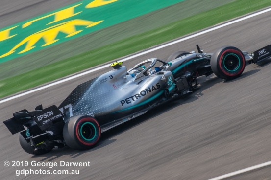 Valtteri Bottas (#77) of the Mercedes Formula 1 team out on track during the 2019 Chinese Grand Prix weekend. -------------------------------------------------- Photo taken by me - GDPHOTOS.COM.AU Friday 12 April 19 Canon EOS 6D Mark II EF100-400mm f/4.5-5.6L IS II USM +1.4x III @ 437mm 1/80 sec @ f36 500 ISO Please credit if sharing -------------------------------------------------