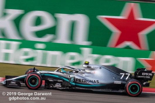 Valtteri Bottas (#77) of the Mercedes Formula 1 team out on track during the 2019 Chinese Grand Prix weekend. -------------------------------------------------- Photo taken by me - GDPHOTOS.COM.AU Friday 12 April 19 Canon EOS 6D Mark II EF100-400mm f/4.5-5.6L IS II USM +1.4x III @ 348mm 1/125 sec @ f25 500 ISO Please credit if sharing -------------------------------------------------
