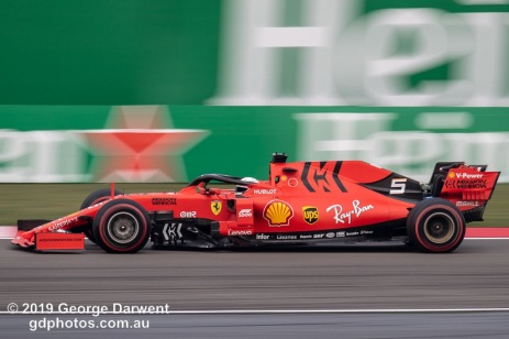 Sebastian Vettel (#5) of the Ferrari Formula 1 team out on track during the 2019 Chinese Grand Prix weekend. -------------------------------------------------- Photo taken by me - GDPHOTOS.COM.AU Friday 12 April 19 Canon EOS 6D Mark II EF100-400mm f/4.5-5.6L IS II USM +1.4x III @ 560mm 1/100 sec @ f10 100 ISO Please credit if sharing -------------------------------------------------
