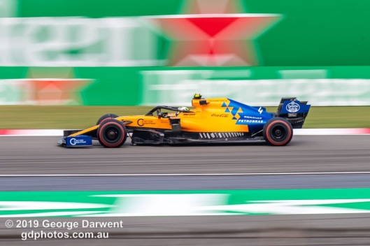 Lando Norris (#4 ) of the McLaren Formula 1 team out on track during the 2019 Chinese Grand Prix weekend. -------------------------------------------------- Photo taken by me - GDPHOTOS.COM.AU Friday 12 April 19 Canon EOS 6D Mark II EF100-400mm f/4.5-5.6L IS II USM +1.4x III @ 358mm 1/50 sec @ f14 100 ISO Please credit if sharing -------------------------------------------------