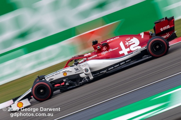 Kimi Raikkonen (#7) of the Alfa Romeo Racing Formula 1 team out on track during the 2019 Chinese Grand Prix weekend. -------------------------------------------------- Photo taken by me - GDPHOTOS.COM.AU Friday 12 April 19 Canon EOS 6D Mark II EF100-400mm f/4.5-5.6L IS II USM +1.4x III @ 560mm 1/50 sec @ f16 100 ISO Please credit if sharing -------------------------------------------------