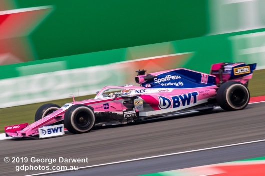 Sergio Perez (#11) of the Racing Point Formula 1 team out on track during the 2019 Chinese Grand Prix weekend. -------------------------------------------------- Photo taken by me - GDPHOTOS.COM.AU Friday 12 April 19 Canon EOS 6D Mark II EF100-400mm f/4.5-5.6L IS II USM +1.4x III @ 560mm 1/50 sec @ f16 100 ISO Please credit if sharing -------------------------------------------------