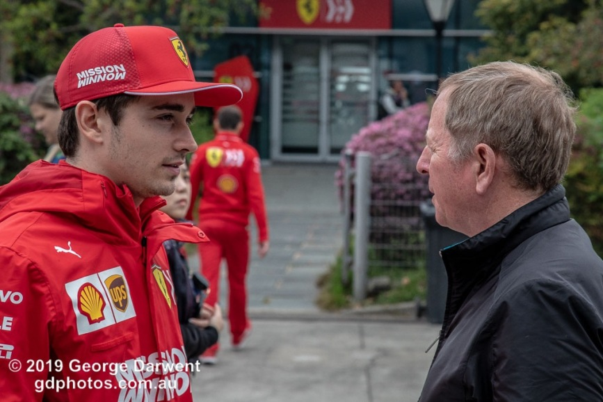 Charles Leclerc (#16) of the Ferrari Formula 1 team talks to Martin Brundle in the paddock on Sunday of the 2019 Chinese Grand Prix weekend. -------------------------------------------------- Photo taken by me - GDPHOTOS.COM.AU Sunday 14 April 19 Canon EOS 6D Mark II EF24-105mm f/4L IS USM @ 99mm 1/500 sec @ f9 800 ISO Please credit if sharing -------------------------------------------------