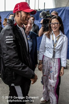 Lewis Hamilton (#44) of the Mercedes Formula 1 team talks to FIA President Jean Todt and his wife in the paddock on Sunday of the 2019 Chinese Grand Prix weekend. -------------------------------------------------- Photo taken by me - GDPHOTOS.COM.AU Sunday 14 April 19 Canon EOS 6D Mark II EF24-105mm f/4L IS USM @ 24mm 1/500 sec @ f5.6 800 ISO Please credit if sharing -------------------------------------------------