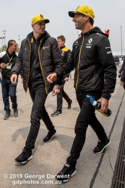 Daniel Ricciardo (#3) and Nico Hulkenburg of the Renault Formula 1 team in the paddock on Sunday of the 2019 Chinese Grand Prix weekend. -------------------------------------------------- Photo taken by me - GDPHOTOS.COM.AU Sunday 14 April 19 Canon EOS 6D Mark II EF24-105mm f/4L IS USM @ 24mm 1/500 sec @ f14 800 ISO Please credit if sharing -------------------------------------------------