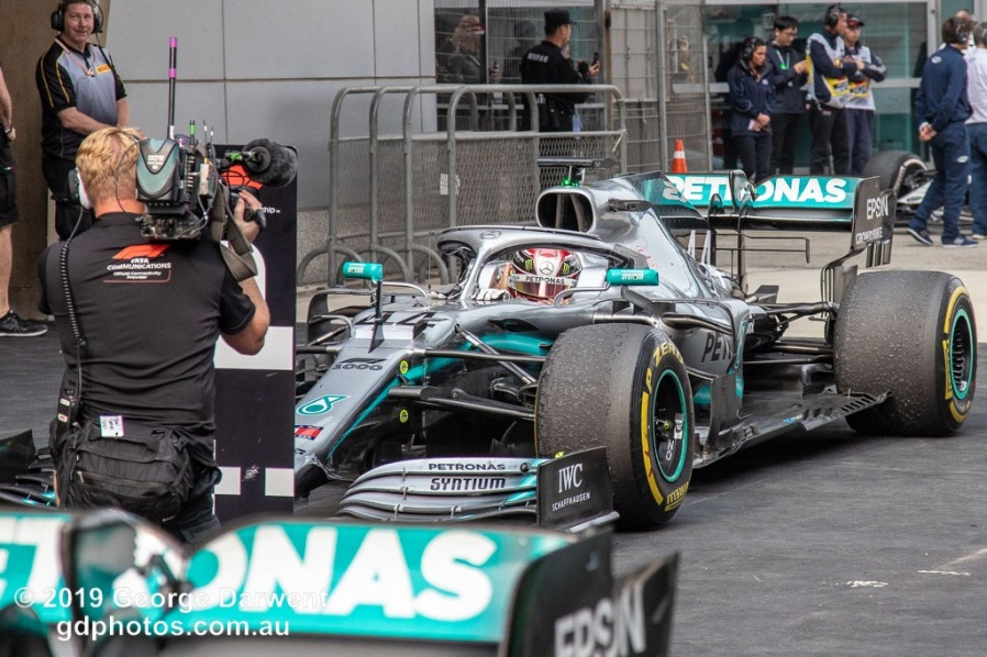 Lewis Hamilton (#44) of the Mercedes Formula 1 team celebrates winning the 2019 Chinese Grand Prix weekend. -------------------------------------------------- Photo taken by me - GDPHOTOS.COM.AU Sunday 14 April 19 Canon EOS 6D Mark II EF24-105mm f/4L IS USM @ 105mm 1/640 sec @ f5.6 800 ISO Please credit if sharing -------------------------------------------------