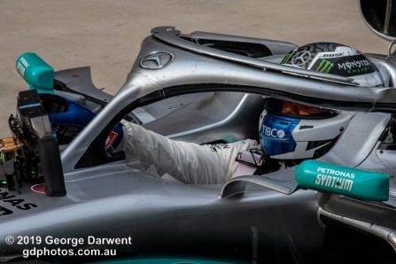 Valtteri Bottas (#77) of the Mercedes Formula 1 team in parc ferme follwing the 2019 Chinese Grand Prix weekend. -------------------------------------------------- Photo taken by me - GDPHOTOS.COM.AU Sunday 14 April 19 Canon EOS 6D Mark II EF24-105mm f/4L IS USM @ 105mm 1/640 sec @ f10 800 ISO Please credit if sharing -------------------------------------------------