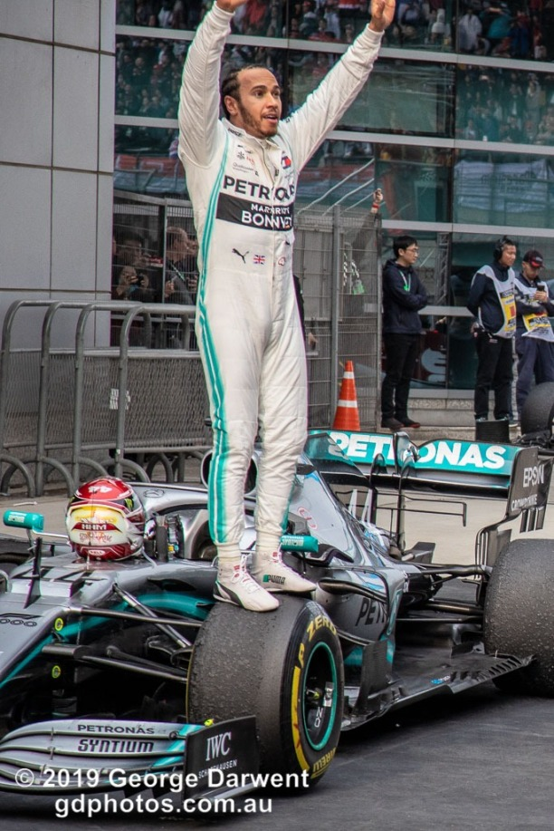 Lewis Hamilton (#44) of the Mercedes Formula 1 team celebrates winning the 2019 Chinese Grand Prix weekend. -------------------------------------------------- Photo taken by me - GDPHOTOS.COM.AU Sunday 14 April 19 Canon EOS 6D Mark II EF24-105mm f/4L IS USM @ 105mm 1/640 sec @ f7 800 ISO Please credit if sharing -------------------------------------------------
