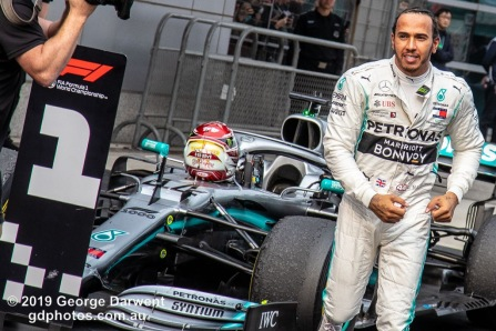 Lewis Hamilton (#44) of the Mercedes Formula 1 team celebrates winning the 2019 Chinese Grand Prix weekend. -------------------------------------------------- Photo taken by me - GDPHOTOS.COM.AU Sunday 14 April 19 Canon EOS 6D Mark II EF24-105mm f/4L IS USM @ 105mm 1/640 sec @ f6.3 800 ISO Please credit if sharing -------------------------------------------------