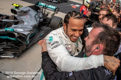 Lewis Hamilton (#44) of the Mercedes Formula 1 team celebrates winning the 2019 Chinese Grand Prix weekend. -------------------------------------------------- Photo taken by me - GDPHOTOS.COM.AU Sunday 14 April 19 Canon EOS 6D Mark II EF24-105mm f/4L IS USM @ 24mm 1/640 sec @ f13 800 ISO Please credit if sharing -------------------------------------------------